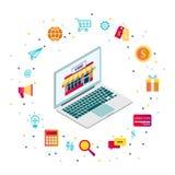 Online-shoppa begrepp f?r kundservice med datoren och e-kommers isometriska dekorativa symboler vektor illustrationer