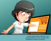 Online-shoppa begrepp med teckenet stock illustrationer