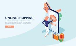 Online-shoppa begrepp med teckenet Sale och consumerism Den unga kvinnan shoppar direktanslutet genom att använda smartphonen Ill vektor illustrationer