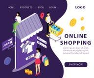 Online-shoppa begrepp var kläderna köps från det isometriska konstverkbegreppet för websiten royaltyfri illustrationer