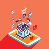 Online-shoppa e-kommers för plan isometrisk betalning för design 3d mobil begrepp vektor illustrationer