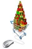 Online-shoppa för rengöringsdukjul Arkivbilder