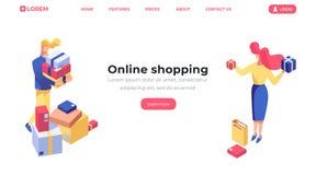 Online-shoppa isometrisk landa sidamall Kundköpandeprodukter, kvinnlig säljare, shoppar erbjudande gods för assistent vektor illustrationer