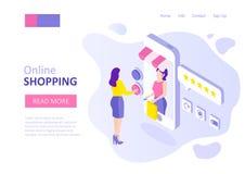 Online-shoppa mall för stock illustrationer