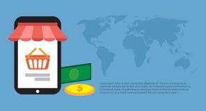 Online-shoppa runt om världen också vektor för coreldrawillustration Fria Roya Arkivfoto