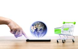 Online shopping cart sell e commerce convenience of Earth image provided by Nasa. Online shopping cart sell of e commerce convenience of Earth stock illustration