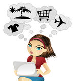 Online shopping. Girl thinking about making shopping online Stock Photo
