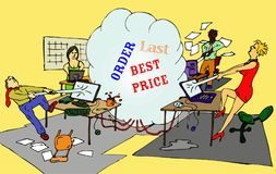Online shopping. People wanting the same last item on-line fighting for it Stock Images