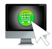 Online shopping. Illustration of a computer with a cart inside, for online shopping Stock Photos