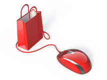 Online shopping. Red mouse and shopping bag Stock Photos