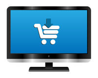 Online shopping. Illustration of a computer monitor with a cart icon. Online shopping concept.EPS file available vector illustration