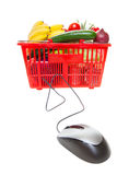 Online shopping. Grocery basket with Computer Mouse, concept of online shopping royalty free stock images