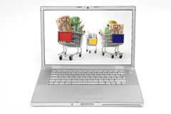 Online shopping. Laptop with shopping carts on screen, on white background Stock Photography