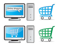 Online shopping. Computer with in online shopping sign and shopping cart Stock Image