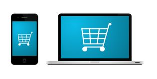 Online shopping. Shopping cart on the screen of laptop and cell phone. Vector available Royalty Free Stock Photo