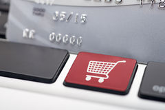 Online Shopping. Icon button of a computer keyboard Royalty Free Stock Photos