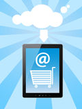 Online shopping. Concept with cloud and tablet  pc Royalty Free Stock Photos