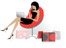 Online shopping. Vector illustration of a girl using a laptop for online shopping Stock Image