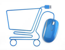 Online shopping. Blue mouse in the shape of a shopping cart on a white background Stock Photography