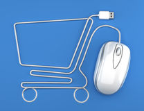 Online shopping. White mouse in the shape of a shopping cart on a blue background Royalty Free Stock Photography