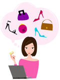 Online shopping. Woman online shopping with credit card in hand, thinking about shoes and bags Stock Photos