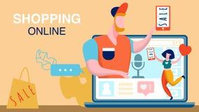 Online-shopping, abstrakt illustration för e-kommers vektor illustrationer