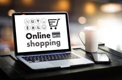 Online Shopping Add to Cart Order Store buy Sale Online shopping. Concept royalty free stock photography