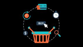 Online Shopping Animation Transparent Vector Motion Graphics Loop
