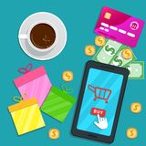 Online shopping app. Flat smartphone with cart icon and cursor pointer clicking buy button on screen. Table with credit card, gift. Boxes for special discount royalty free illustration
