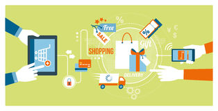 Online shopping and apps Stock Images
