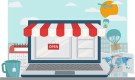 Online shopping background. Illustration of Online shopping isolated background Royalty Free Stock Image