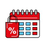 Online shopping bag discount percentage calendar logistic. Vector illustration royalty free illustration