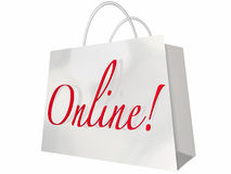 Online Shopping Bag Internet Store Stock Photo