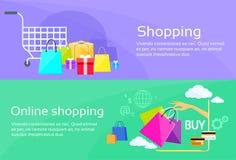 Online Shopping Bag Web Banner Commerce Flat Stock Images