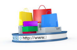 Online shopping. Shopping bags and boxes with an internet browser address bar, concept of online shopping (3d render Royalty Free Stock Photo