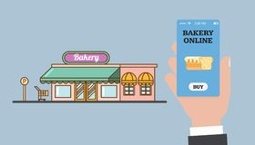Online shopping in the bakery. Online bakery. Store and hand with a smartphone. Smartphone app. Vector flat vector illustration