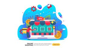 Online shopping banner. Business concept for Sale e-Commerce with smartphone and tiny people character. template for web landing vector illustration