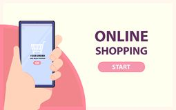 Online shopping banner. Hand take phone with completed order. Flat style. Vector vector illustration