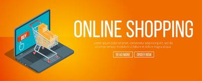 Online shopping banner Stock Photography
