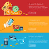 Online shopping banners e-commerce transactions processing Royalty Free Stock Images