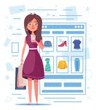 Online shopping. Beautiful girl character design. Cartoon vector illustration. Woman is buying clothes by smartphone vector illustration