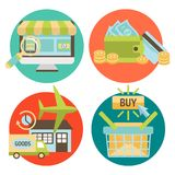 Online Shopping Business Icons Set Stock Image