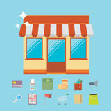 Online shopping and business marketing concept with flat icons d Royalty Free Stock Images