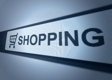 Online shopping button. Close up of monitor screen for online shopping Royalty Free Stock Photo