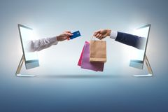 The online shopping through buying from internet stock image