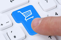 Online shopping buying order internet shop concept. With shopping cart Royalty Free Stock Image