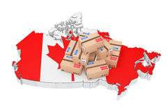 Online Shopping in Canada Concept. Parcels over Canada Map. 3d R. Online Shopping in Canada Concept. Parcels over Canada Map on a white background. 3d Rendering Stock Photo
