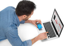Online shopping with card Royalty Free Stock Photos