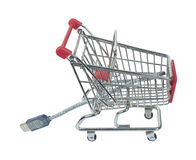 Online Shopping Cart with Cable Stock Photo