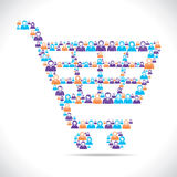 Online shopping cart design with people Stock Image
